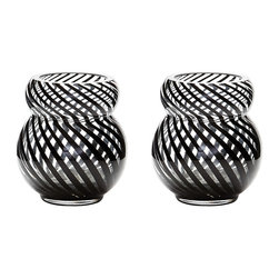 Lazy Susan - Lazy Susan Whirl Bubble Votive, Set of 2 - This Whirl Bubble Vase Is Mouth Blown By A Skilled Craftsman Using Traditional Techniques. The Distinctive Canes Of Black Finish Are Blown Into The Glass.