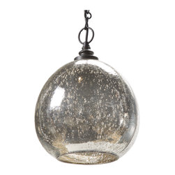 Kathy Kuo Home - Voysey Industrial Loft Antique Mercury Glass Float Pendant - You may not (thankfully) have a heart of glass, but you can certainly decorate like you do. This aged mercury glass pendant light features flecks on the shade providing interesting texture and lighting. Mystery and intrigue crackle in the air anywhere you choose to hang it.