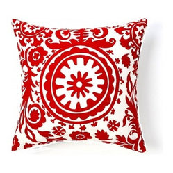 5 Surry Lane - Red Suzani Pillow - Nothing beats a suzani print for a bold look at home. Done in red and white it's chic and easy to work with throughout your modern home.