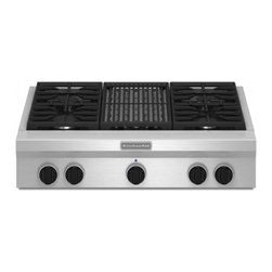 """KitchenAid - KGCU462VSS 36"""" Built-In Commercial-Style Gas Cooktop  Single Burner Cast-iron Gr - Create your favorite meals with this sealed burner cooktop featuring 6 burners that accommodate your cooking needs and a simmermelt burner that maintains low temperatures"""