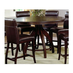 Hillsdale - Nottingham Round Gathering Table w Walnut Fin - This counter height pedestal style table has an espresso finish and tapered wooden legs. The table features hardwood and wood composite construction for a sturdy, handsome design. The round table can be paired with the brown upholstered dining chairs for a complete look. For residential use. Round pedestal dining table. Rich marble table top. Constructed of solid wood and climate controlled wood composites. 36 in. H x 53.5  in. DiameterUrban and sophisticated, the tapered, clean lines of the Nottingham dining collection create an effect that is fresh, modern and timeless. Available in two heights, a traditional dining height and the newest trend, counter height, the Nottingham offers both a side chair or stool and curved benches (banquettes), which fit effortlessly around the round table tops. Constructed of hardwoods and climate controlled wood composites, this collection is finished in a deep rich espresso with a versatile and easy to maintain brown faux leather seat cover and upholstered chair backs. Matching server also available.