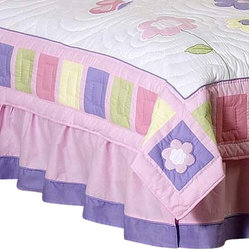 Butterfly Pink & Lavender Bed Skirt Queen