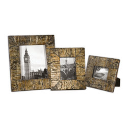 Uttermost - Coaldale Photo Frames, Set of 3 - Display your favorite photographs in sophisticated frames that match your style. These bark veneer frames are heavily antiqued with a silver champagne leaf and finished with a heavy gray glaze. Your photo opportunity won't go unnoticed.