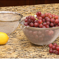 None - Stainless Steel Mesh Strainer (Set of 2) - Stainless steel mesh bowl with handles features 6.5-inch and 9-inch colanders Strainer set is made of professional, heavy-gauge wire Strainer two-piece set is a kitchen cooking essential