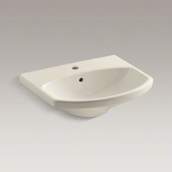KOHLER - KOHLER Cimarron(R) bathroom sink with single-hole faucet hole - The Cimarron collection combines the best of traditional and contemporary design for a versatile look that complements a range of bathroom styles. Beveled edges and simple lines enhance the uniquely shaped basin. Pair it with the K-2364 pedestal for a perfect match.