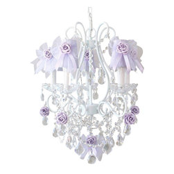 5 Light Chandelier with Lavender Tulle Bow Shades - This adorable vintage-inspired 5-light white chandelier has been adorned with gorgeous lavender Dupioni Silk shades, decorated with sweet lavender tulle bows, satin ribbons and lavender roses. Fancy-cut Glass Bobeches, plenty of crystal teardrop prisms, French pendants and layers of crystal chain-swags add loads of glam and sparkle!