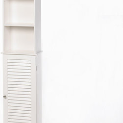 KOOLEKOO - Nantucket Tall Storage Cabinet - You'll find a thousand uses for this fashionable organizer, from the bathroom to the living room and beyond! Sleek louvered styling and bright white finish let this handsome shelf brighten most any decor.