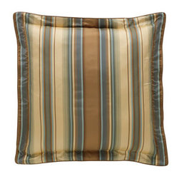"""Legacy Home - Legacy Home Striped European Sham - Bella bed linens in golden brown and slate blue in brocade, crocodile and striped patterns. Duvet cover, blue/cocoa damask pattern. Reverses to cotton. Dust skirt; 18"""" drop. Damask curtains, lined; rod-pocket style. Include tiebacks. 50""""W. Chenill..."""