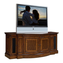 Sligh Furniture - Bow Front TV Console w Interchangeable Door P - Sleek styling contemporary console. Left and right side hinged doors. Two adjustable wood shelves. Interchangeable wood or speaker cloth door panels. Second from left and right side pull-out two-tier media drawers. Cord management. Heat escapement. Floor levelers. Antique brass door pulls. Curved inlaid hinged center doors with one adjustable shelf. Surge suppressor with five electrical outlets, satellite TV cord and co-ax cable attachment. Infrared Smart eye allows for remote control of concealed electronic components. Accommodates the optional Sligh strong arm and Sligh smart fan. Made from multiple hardwood solids and veneers. Accommodates televisions up to: 69.38 in. W x 15.75 in. D. 71.25 in. W x 24 in. D x 28 in. H