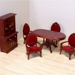 "Melissa & Doug - Melissa and Doug Victorian Dining Room Furniture Set - 1 in. Scale - 2586 - Shop for Dollhouses and Dollhouse Furnishings from Hayneedle.com! This Melissa and Doug Victorian Dining Room Furniture Set - 1 in. Scale is a perfect way to add antique charm to your dollhouse. With delicate carved details and crimson cushions each chair creates a warm and inviting atmosphere. The beveled table stands atop four intricately carved legs and the armoire features working drawers and doors with gold-tone hardware. Each piece in the set is carefully crafted from quality wood with a cherry finish making it a must-have for every Victorian dollhouse. Perfect for dollhouses with a 1:1 ratio About Melissa & Doug ToysSince 1988 Melissa & Doug have grown into a beloved children's product company. They're known for their quality educational toys and items and have grown in double digits annually. The Melissa & Doug company has been named Vendor of the Year by such great retailers as FAO Schwarz Toys R Us and Learning Express and their toys have been honored as ""Toys of the Year"" by Child Magazine FamilyFun Magazine and Parenting Magazine. Melissa & Doug - caring quality children's products."