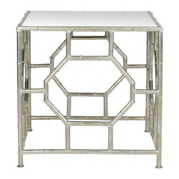 Safavieh - Rory Accent Table - The Rory Accent Table's chic mirrored top and Chinoiserie-inspired silver leaf faux bamboo base in forged iron boast classic style with a refined, modern edge. Rory�s updated Asian style would feel at home in the palace of a Park Avenue princess.