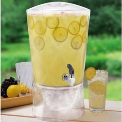 Creative Bath 3 gal. Sculptured Beverage Dispenser - It's easy to store, serve, and transport all your favorite cool drinks with the Creative Bath 3 gal. Sculptured Beverage Dispenser. Practical yet stylish, it's made in the USA of durable yet lightweight clear acrylic. Ideal for entertaining indoors or out, it boasts a casual yet elegant style that blends with any decor. It features a sturdy spigot and wide-mouth lid that makes it easy to fill with up to 3 gallons of lemonade, soda, juice, iced tea, water, and more. You can also fill the base with ice for additional cooling.About Creative BathFor over 30 years, Creative Bath has developed innovative, stylish bathroom decor items. They have grown exponentially, and now you can find their products in major retail and online stores around the world. From shower curtains to soap dishes and everything in between, Creative Bath brings you high quality items to enhance your lifestyle.