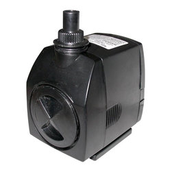 Alpine Fountains - 400 GPH Submersible Stream Pump - Includes 16 ft. power cord. Flow control. Oil free magnetic driven, epoxy protected ceramic shaft for longer life. Cost saving, energy efficient operation. Reliable and quiet submersible water pumps. Power consumption: 25 watts. Max flow: 400 gph. Max head: 98 in.. Outlet connection: 0.5 in. to 0.75 in.. Warranty: Three years. 3 in. L x 3 in. W x 5 in. H (2.6 lbs.). Care InstructionOur stream pumps are ideally suited for replacement pumps in large concrete, resin statuary, birdbaths utilizing moving water, waterfall and water gardening applications. These energy efficient pumps are compact to also fit into statuary bases.