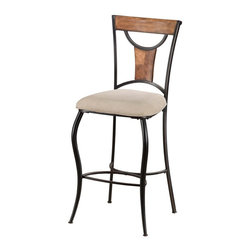 Hillsdale - Hillsdale Pacifico Non-Swivel Bar Stools - 4137-831 (Set of 2) - Black metal with copper highlights mixes with wood finished in honey maple tones to accomplish the cool, refreshing look of Hillsdale's Pacifico bar stools. Clean lines with just enough curve, versatile beige microfiber cushioned seats, and neutral finishishes make this transitionally designed bar stool perfect for your bar or eat in kitchen. Constructed of sturdy, fully-welded, heavy gauge metal and climate controlled wood composites.