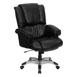 Flash Furniture - Flash Furniture High Back Black Leather OverStuffed Executive Office Chair - Have you ever wondered what it would be like to work from home? To be able to sit in the comfort of your own living room recliner, kicked back in a plush comfortable setting, relaxed and ready to work? Can you picture it? This overstuffed executive office chair from Flash Furniture helps to provide that very experience in the office. Providing the pillow-top comfort of a home recliner with the look and functionality of a great office chair, you can easily achieve a perfect combination of comfort and productivity. Featuring back leather upholstery, loads of soft padding, underlying foam support, a silver nylon base with back caps that prevent your feet from slipping and an ergonomic design, this executive office chair enables one of the most comfortable sitting experiences you will ever have. [GO-958-BK-GG]