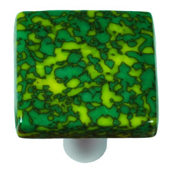 "Aquila Art Glass - Art Glass Square Knob, Black Post, Granite, Sunflower Yellow & Jade Green - To make our cabinet knobs and pulls, 2 to 5 pieces of glass are cut, cleaned, stacked together and placed into a kiln. The kiln goes up to 1450 degrees Fahrenheit, the glass becomes molten and fuses together to make one piece of glass. The glass is then cut out out to the required shape. Next the glass is placed back into a kiln and taken to 1300 degrees fahrenheit and the edges are ""fire polished"". The glass spends about 48 hours in the kilns. Expect slight variations in color & size."