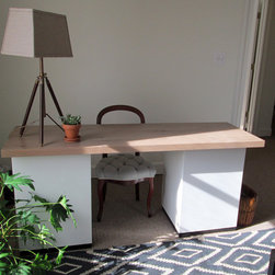 Work Top - Modern wood desk top built out of solid white oak with a custom finish. Custom sizes and finishes available.