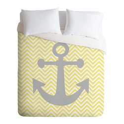 DENY Designs - Lara Kulpa Yellow Anchor Duvet Cover - Turn your basic, boring down comforter into the super stylish focal point of your bedroom. Our Luxe Duvet is made from a heavy-weight luxurious woven polyester with a 50% cotton/50% polyester cream bottom. It also includes a hidden zipper with interior corner ties to secure your comforter. it's comfy, fade-resistant, and custom printed for each and every customer.