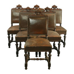 EuroLux Home - Set of 6 Consigned Antique French Renaissance Dining - Product Details