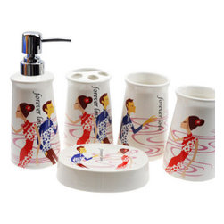 Korean Style Ceramic Bathroom Accessory Set - Bath Accessory Sets