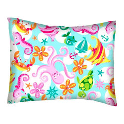 SheetWorld - SheetWorld Twin Pillow Case - Percale Pillow Case - Sea Creatures - Made in USA - Twin pillow case. Made of an all cotton flannel fabric. Side Opening. Features the one and only sea creatures!