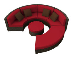 Forever Patio - Hampton Radius 4 Piece Outdoor Sectional Set, Chocolate Wicker and Ruby Cushions - The Forever Patio Hampton Radius 4 Piece Wicker Outdoor Sectional Set with Red Sunbrella cushions (SKU FP-HAMR-4SEC-CH-FF) creates a look that is sure to impress. The set seats 6 to 7 adults comfortably, and features Chocolate resin wicker, which is made from High-Density Polyethylene (HDPE) for outdoor use. Each strand of this outdoor wicker is infused with the rich color and UV-inhibitors that prevent cracking, chipping and fading ordinarily caused by sunlight, surpassing the quality of natural rattan. Each piece features thick-gauged, powder-coated aluminum frames that make the set extremely durable. Also included with this round patio sofa set are fade- and mildew-resistant Sunbrella cushions. The deep-seated design of the Hampton collection combined with plush cushions make this curved sofa sectional set as comfortable as an indoor sectional, but designed for the outdoors!