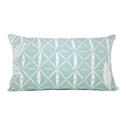 Indochine Peacock Lattice Pillow, Sky/White