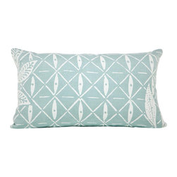 "Cricket Radio - Indochine Peacock Lattice Pillow, Sky/White - ""Lattice"" give you a decorating boost with this soft pillow for your bed, bench or sofa. A white leaf and lattice pattern is hand-printed in ecofriendly inks on Italian linen. It even includes a soft down pillow insert that can be removed for easy cleaning."