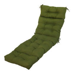 Greendale Home Fashions - Outdoor Chaise Lounger Cushion - Features: -100% Polyester. -Filling material users 100% recycled, post-consumer plastic bottles. -UV-Resistant outdoor fabrics. -Overstuffed construction for extra comfort and longevity. -Modern prints for contemporary styles. -Four-section deluxe chaise lounge cushion. -String ties secure cushion to outdoor furniture. -Mitered-edge construction. -Circle tacks create secure compartments which prevents cushioning from shifting.