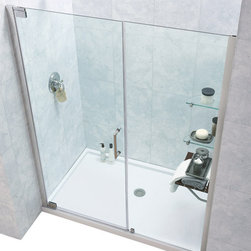 DreamLine - DreamLine SHDR-4142720-01 Elegance 42 1/2 to 44 1/2in Frameless Pivot Shower Doo - The Elegance pivot shower door combines a modern frameless glass design with premium 3/8 in. thick tempered glass for a high end look at an excellent value. The collection is extremely versatile, with options to fit a wide range of width openings from 25-1/4 in. up to 61-3/4 in.; Smart wall profiles make for an easy and adjustable installation for a perfect fit. 42 1/2 - 44 1/2 in. W x 72 in. H ,  3/8 (10 mm) thick clear tempered glass,  Chrome or Brushed Nickel hardware finish,  Frameless glass design,  Width installation adjustability: 42 1/2 - 44 1/2,  Out-of-plumb installation adjustability: Up to 1 in. per side,  Frameless glass pivot shower door design,  Elegant pivot mechanism and anodized aluminum wall profiles,  Stationary glass panel with two glass shelves,  Door opening: 26 in.,  Stationary panel: 12 in.