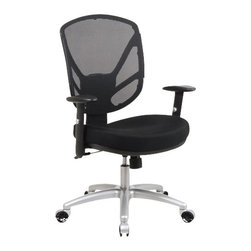 Office Star - Office Star Screen Back 2-to-1 Synchro Tilt Office Chair with Aluminum - Office Star - Office Chairs - S27213 - The Office Star Screen Back 2-to-1 Synchro Tilt Chair with Aluminum Finish Base brings efficiency and elegance to any office. The thick padded contour mesh seat with screen back ensures comfort and good posture. Get the job done quickly and impress your boss with the Screen Back Tilt Chair.