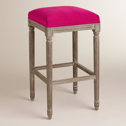 World Market - Fuchsia Paige Backless Barstool - An elegant take on a classic, our Fuchsia Paige Backless Barstool is crafted of American white oak with carved details and a distressed finish. Plush velvet upholstery makes this exclusive barstool a stylish seating update for the home bar.
