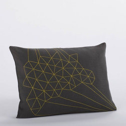 Coyuchi - Delicate Triangles Embroidered Decorative Pillow - Like frost on a windowpane, embroidered triangles trace crystalline forms across smooth linen. Our removable pillow cover is machine washable and comes with a kapok insert. Coconut shell buttons close the back. Features: -Material: 100% Linen. -Abstract geometry drawn from nature. Care Instructions: -Decorative Pillow Covers: After removing the insert, hand wash or machine wash the cover in cold water on the delicate cycle. Line dry. To iron, turn the pillow inside out, and use a warm iron for cotton and wool, or a hot iron for linen, as needed. Please refer to the product tag for more specific instructions. -Kapok Pillow Inserts: Pillow inserts are a 100% organic cotton shell with a natural kapok fill. Before first use, fluff in the dryer on warm for 15 minutes for maximum comfort. Then fluff the pillow once a month in the dryer with tennis balls to ensure optimum loft, hygiene and shape retention. Wash separate from other items. Tumble dry warm with tennis balls; dry thoroughly. Please refer to the product tag for more specific instructions.