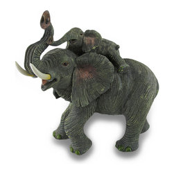 Zeckos - Playful Elephant Mother and Calf Family Sculptural Statue - Said to bring good luck, this trunk up mother elephant playfully carries her young on her back in this highly detailed statue. Expertly cast in resin, this 13.5 inch high, 15 inch long, 8.5 inch wide (34 X 38 X 22 cm) sculpture features a hand-painted life like gray finish, and would look amazing in any room of your home, on a sheltered porch or at the office This good fortune mother and calf statue makes a wonderful gift for expectant mothers and elephant lovers sure to be admired