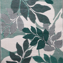 b.b.begonia - Area Rug/ Patio Mat- 4' x 6'-Natura-Reversible, Green/White for Outdoor Use - A delightfully simple pattern of leaves in different hues of green on a neutral ground. This reversible mat is a great solution for the sun room, for the patio, for the deck, by the pool or in the yard.