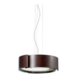 Eurofase - Dervish Suspension - Dervish pendant features concentric curved panels that form a drum shade - pieces are spaced giving the illusion that they are floating in alignment. Available with a chrome finish and a shade in artstone, mahogany, or chrome. Also available with a satin nickel finish with a satin nickel shade. Available in a small or large size option. Small requires (3) 60 watt, 120 volt, A19 medium base incandescent lamps not included. Large requires (5) 60 watt, 120 volt, A19 medium base incandescent lamps not included. General light distribution. Includes 72 inch chain. Small: 15 inch diameter x 5.5 inch height. Large: 22 inch diameter x 5.5 inch height.