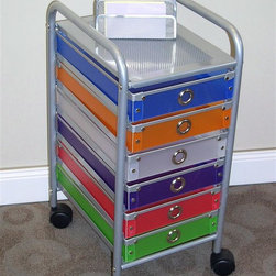 4D Concepts - Storage Cart w 6 Multi Colored Drawers - Perfect for the home, office, or dorm room, this handy storage cart displays six exciting and multi-colored drawers with distinctively rounded silver toned handles.  It all rests within a silver colored metal frame and can be wheeled on its two inch casters. * silver metal frame. 2 in. castersMulticolored polypropylene drawers w silver handlesComes ready to assemble14.8 in. D x 11.4 in. W x 24 in. H