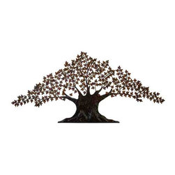 """UMA - Giant 92"""" Tree of Life Metal Wall Sculpture - Eye-catching metal wall sculpture of an ancient tree with many leaf-covered branches"""