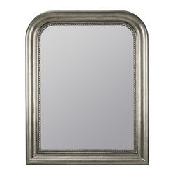"Cooper Classics - Delaney Silver Round Mirror - Add classic style to your home with the lovely kwango mirror.  This beautiful antique silver finished wall mirror with black undertones will make a stunning addition to your home.  Frame Dimensions: 30.5""W X 38.25""H; Mirror Dimensions: 23""W X 30.75""H; Finish: Antique Silver with Black Undertones; Material: Polyurethane; Beveled: No; Shape: Arched; Weight: 26; Included: Brackets, Ready to Hang"