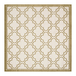 Safavieh - Roberto Indoor/Outdoor Rug, Ivory / Light Green 7' X 7' - Construction Method: Power Loomed. Country of Origin: Turkey. Care Instructions: Easy To Clean. Just Rinse With A Garden Hose. Coordinate indoor and outdoor living spaces with fashion-right Amherst all-weather rugs by Safavieh. Power loomed of long-wearing polypropylene, beautiful cut pile Amherst rugs are made to stand up to tough outdoor conditions, but designed with the aesthetics of indoor rugs. Use these family-friendly geometric designs on patios, in kitchens, busy family rooms and other high traffic rooms.