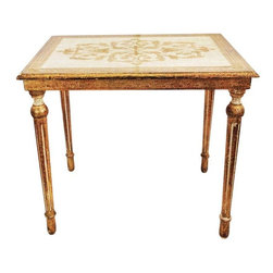 Florentine - Pre-owned Gold Florentine Vintage Side Table - A beautiful Florentine side table. The table features a pretty top with a gold scroll design. It is in good vintage condition with some wear, but it is structurally sturdy. It looks great with its aged character, but it has beautiful form that would look great under a new lacquer finish!