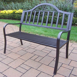 Oakland Living - Lightweight Garden Bench - Crisp and stylish traditional lattice pattern and scroll work. Metal hardware. Fade, chip and crack resistant. Warranty: One year limited. Made from durable tubular iron. Hardened powder coat finish in hammer tone bronze. Minimal assembly required. 50 in. L x 24 in. W x 34 in. H (42 lbs.)The Oakland Rochester Collection combines practical designs and modern style giving you rich addition to any outdoor setting. This bench will be beautiful addition to your patio, balcony or outdoor entertainment area. Our Benches are perfect for any small space or to accent larger space. We recommend that products be covered to protect them when not in use. To preserve the beauty and finish of the metal products, we recommend applying epoxy clear coat once year. However, because of the nature of iron it will eventually rust when exposed to the elements.