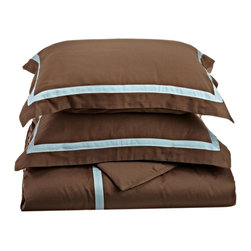 "300 Thread Count Full/Queen Duvet Cover Cotton Set Solid - Mocha/Sky Blue - A hotel luxury way to decorate your bedroom with a 300 Thread Count Duvet Cover Set. The perfect complement to a guest bedroom or master suite! These 300 thread count sheets of premium long-staple cotton are ""sateen"" because they are woven to display a lustrous sheen that resembles satin."