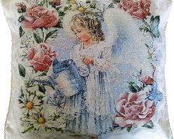 Tache Home Fashion - Tache Angel in the Garden 18 x 18 Inch Throw Cushion Cover, 18 X 18 Inches, 2 Pi - A Great Valentines Gift Idea and accent. Enjoy Cupid's presence year round with this cushion cover, as a cute angel waters her flowering garden.