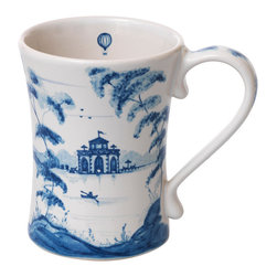 Country Estate Delft Blue Mug - A dainty hot air balloon rises freely into the sky on the inner surface of the Mug from the Country Estate Delft Blue collection, while on the outside, a series of elegant and fanciful buildings set amidst spacious lawns and weeping trees bring an impression of imaginative grace to the breakfast table or to after-dinner coffee. In classic blue and white, this attractive flared mug offers distinctive beauty.