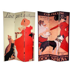 Oriental Furniture - 6 ft. Tall Double Sided Dogs and Cats Room Divider - Bring out your inner animal lover with this splendid room divider featuring turn of the century commercial poster art. The image on the front is from prolific art nouveau artist Theophile Alexandre Steinlen featuring one of his favorite subjects: Cats. The back side of this screen is graced by a poster for the 1901 Chicago Kennel Club Dog Show, painted the acclaimed American animal artist George Ford Morris. These wonderful, stylish graphic art prints from by gone eras provide unique, urbane interior design elements perfect for your living room, bedroom, dining room, or kitchen. This three panel screen has different images on each side, as shown.