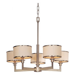 Joshua Marshal - Five Light Satin Nickel Drum Shade Chandelier - Five Light Satin Nickel Drum Shade Chandelier