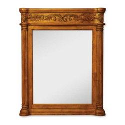 Lyn Design - Lyn Design Burled Ornate 33 11/16 X 42 Golden Pecan Mirror - Lyn Design Burled Ornate 33 11/16 X 42 Golden Pecan Mirror