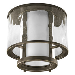 Thomasville Lighting - Thomasville Lighting P3941-20 Bay Court 1 Light Flushmount Ceiling Fixture - Thomasville Lighting P3941-20 Single Light Bay Court Flush Mount Ceiling FixtureAntique Bronze hardware outlines the beautiful glass in this unique light. Layers of seedy clear and opal white glass lend a unique style to this bold dingle light Flushmount ceiling fixture.Bay Court antique nautical lanterns include minimalist undertones and subtle detailing that can add a calming effect to any room. Can be used in traditional and non-traditional fashions – as single pieces or multiples of two or more.Thomasville Lighting P3941-20 Features: