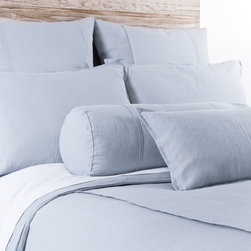 """Pom Pom at Home - Pom Pom at Home Louwie Ocean Duvet Cover - Pom Pom at Home's bedding and accessories lend lived-in elegance to everyday experiences.�� The classic Louwie duvet cover delivers a sophisticated design to a bedroom. Two center flanges accent its soft and textured ocean blue organic linen, offering a tailored aesthetic. Available in twin, queen and king sizes. Machine washable. Insert not included. Twin: 68""""W x 88""""H. Queen: 88""""W x 88""""H. King: 90""""W x 104""""H. 0.5""""W flange."""